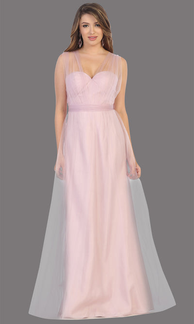 Mayqueen MQ1728 long mauve flowy tulle mesh dress.Dusty rose evening dress is perfect for bridesmaid dresses,formal wedding guest party dress.This multiway convertible tulle dress allows you to wear a dress w/different necklines.Plus sizes avai