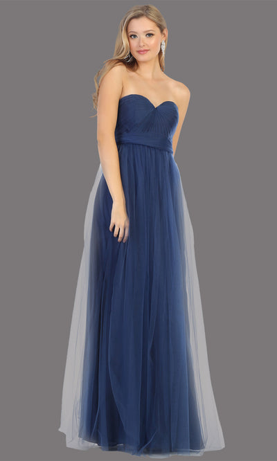 Mayqueen MQ1728 long navy blue flowy tulle mesh dress. Dark blue evening dress is perfect for bridesmaid dresses,formal wedding guest party dress.This multiway convertible tulle dress allows you to wear a dress w/different necklines.Plus sizes avail
