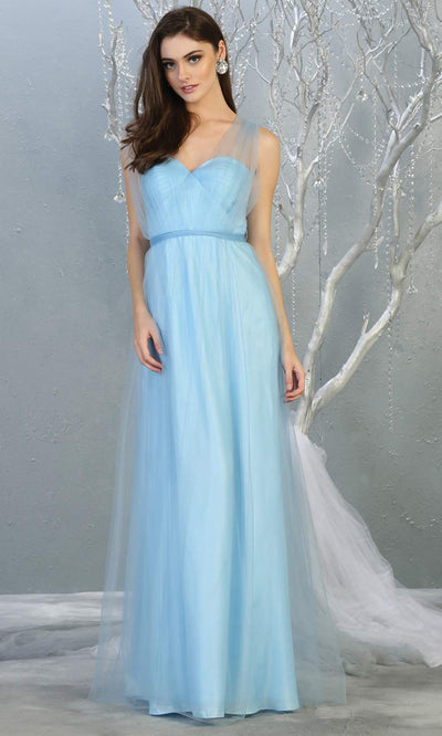 Mayqueen MQ1728 long perry blue flowy tulle mesh dress.Light blue evening dress is perfect for bridesmaid dresses,formal wedding guest party dress.This multiway convertible tulle dress allows you to wear a dress w/different necklines.Plus sizes avai.jpg