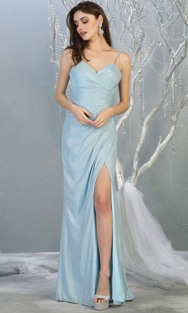 Mayqueen MQ1730-long baby blue metallic dress with high slit & thin straps. This tight fitted light blue dress is perfect for formal wedding guest dress, engagement dress, e-shoot dress. This light blue dress is available in plus sizes.jpg