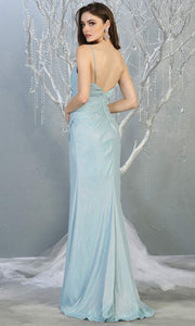 Mayqueen MQ1730-long baby blue metallic dress with high slit & thin straps. This tight fitted light blue dress is perfect for formal wedding guest dress, engagement dress, e-shoot dress. This light blue dress is available in plus sizes-b.jpg