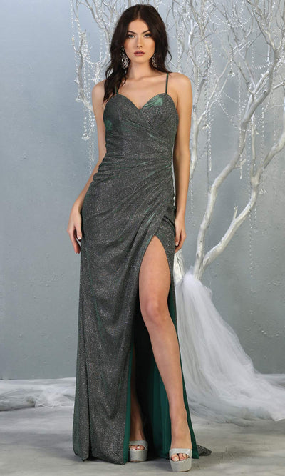 Mayqueen MQ1730-long hunter green metallic dress with high slit & thin straps. This tight fitted dark green dress is perfect for formal wedding guest dress, engagement dress, e-shoot dress. This hunter green dress is available in plus sizes.jpg