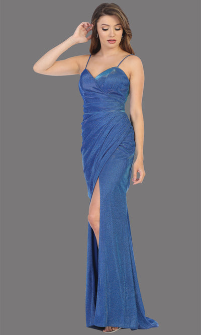 Mayqueen MQ1730-long royal blue metallic dress with high slit & thin straps. This tight fitted royal blue dress is perfect for formal wedding guest dress, engagement dress, e-shoot dress. This hunter green dress is available in plus sizes