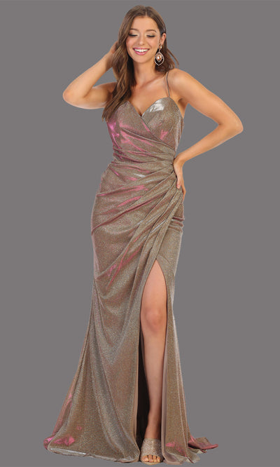 Mayqueen MQ1730-long taupe metallic dress with high slit & thin straps. This tight fitted taupe dress is perfect for formal wedding guest dress, engagement dress, e-shoot dress. This hunter green dress is available in plus sizes