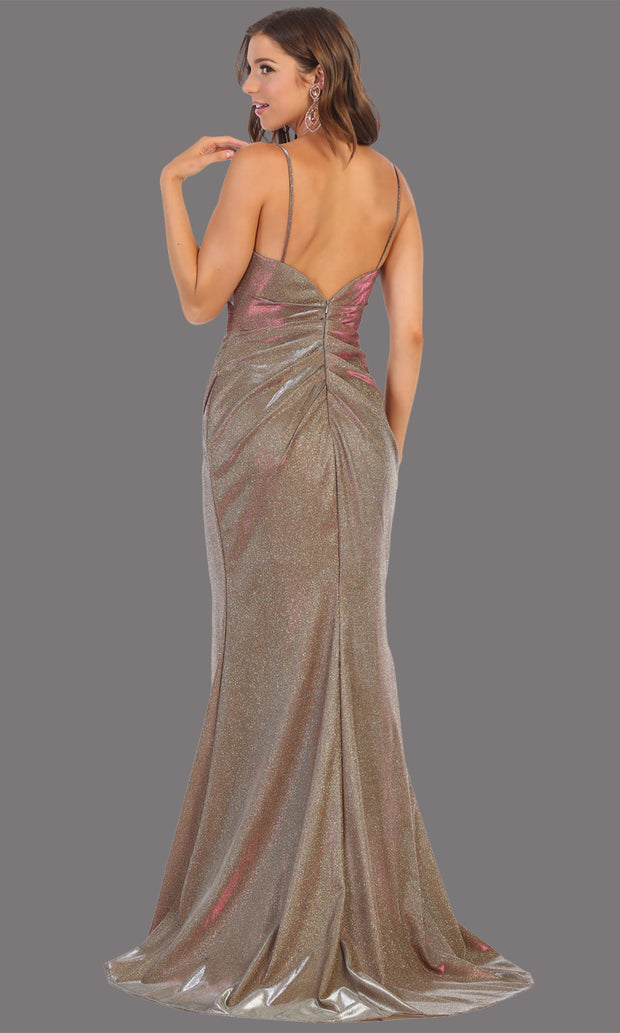 Mayqueen MQ1730-long taupe metallic dress with high slit & thin straps. This tight fitted taupe dress is perfect for formal wedding guest dress, engagement dress, e-shoot dress. This hunter green dress is available in plus sizes-b