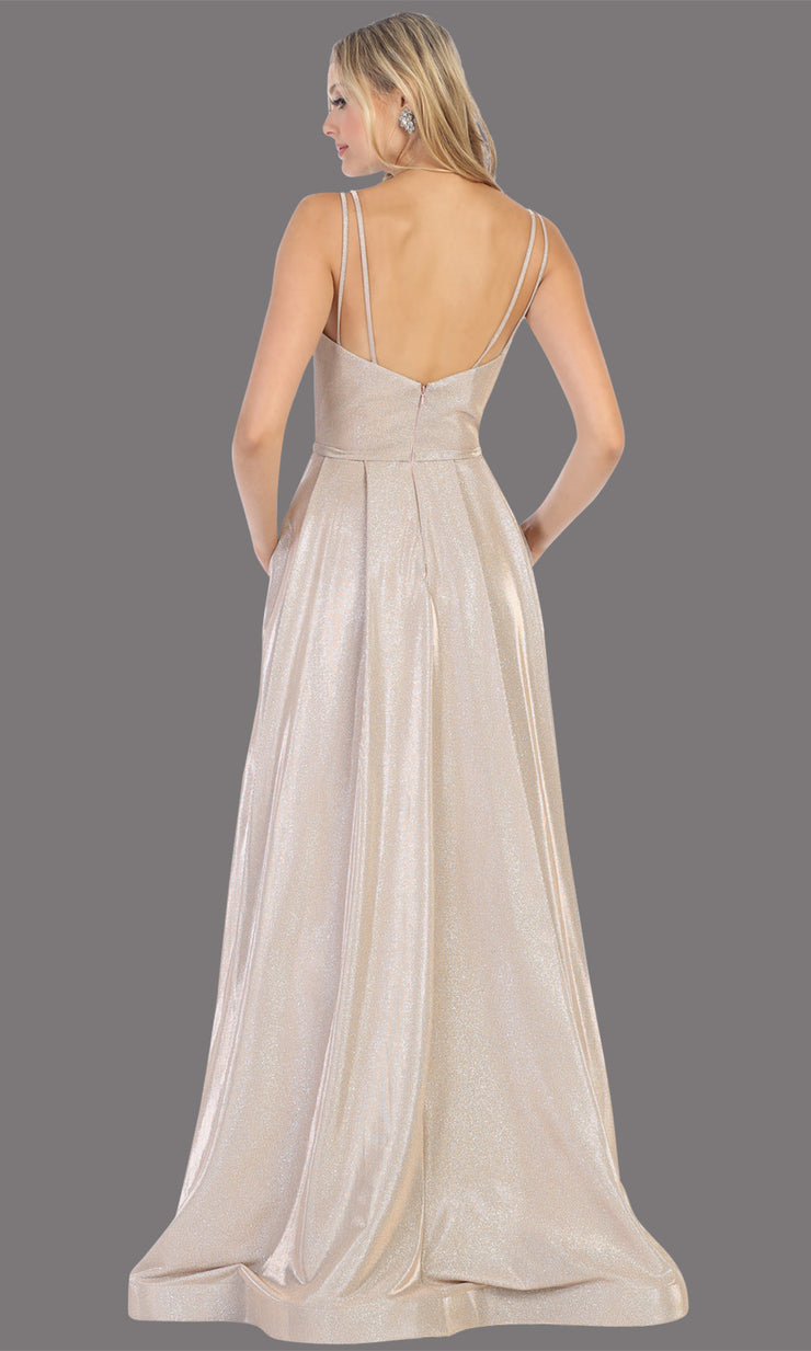 Mayqueen MQ1731 long flowy metallic champagne dress w/ thin straps. This metallic flowy, a-line evening dress is perfect as a formal wedding guest dress, sweet 16 dress, quinceanera dress, prom 2020 dress, debut, indowestern gown. Plus sizes-b