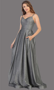 Mayqueen MQ1731 long flowy metallic charcoal grey dress w/ thin straps. This metallic grey flowy, a-line evening dress is perfect as a formal wedding guest dress, sweet 16 dress, quinceanera dress, prom 2020 dress, debut, indowestern gown. Plus sizes