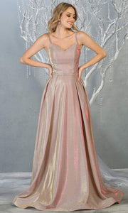 Mayqueen MQ1731 long flowy metallic rose gold dress with thin straps. This metallic light gold flowy, a-line evening dress is perfect as a formal wedding guest dress, sweet 16 dress,quinceanera dress,prom 2020 dress,debut, indowestern gown. Plus sizes.jpg