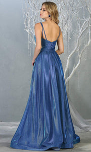 Mayqueen MQ1731 long flowy metallic royalblue dress w/ thin straps. This metallic royal blue flowy, a-line evening dress is perfect as a formal wedding guest dress, sweet 16 dress,quinceanera dress,prom 2020 dress,debut, indowestern gown. Plus sizes-b.jpg