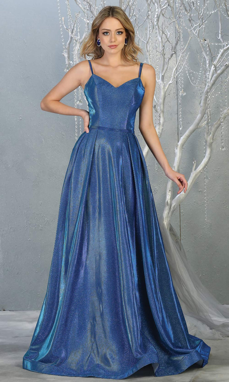 Mayqueen MQ1731 long flowy metallic royal blue dress w/ thin straps. This metallic royal blue flowy, a-line evening dress is perfect as a formal wedding guest dress, sweet 16 dress,quinceanera dress,prom 2020 dress,debut, indowestern gown. Plus sizes.jpg