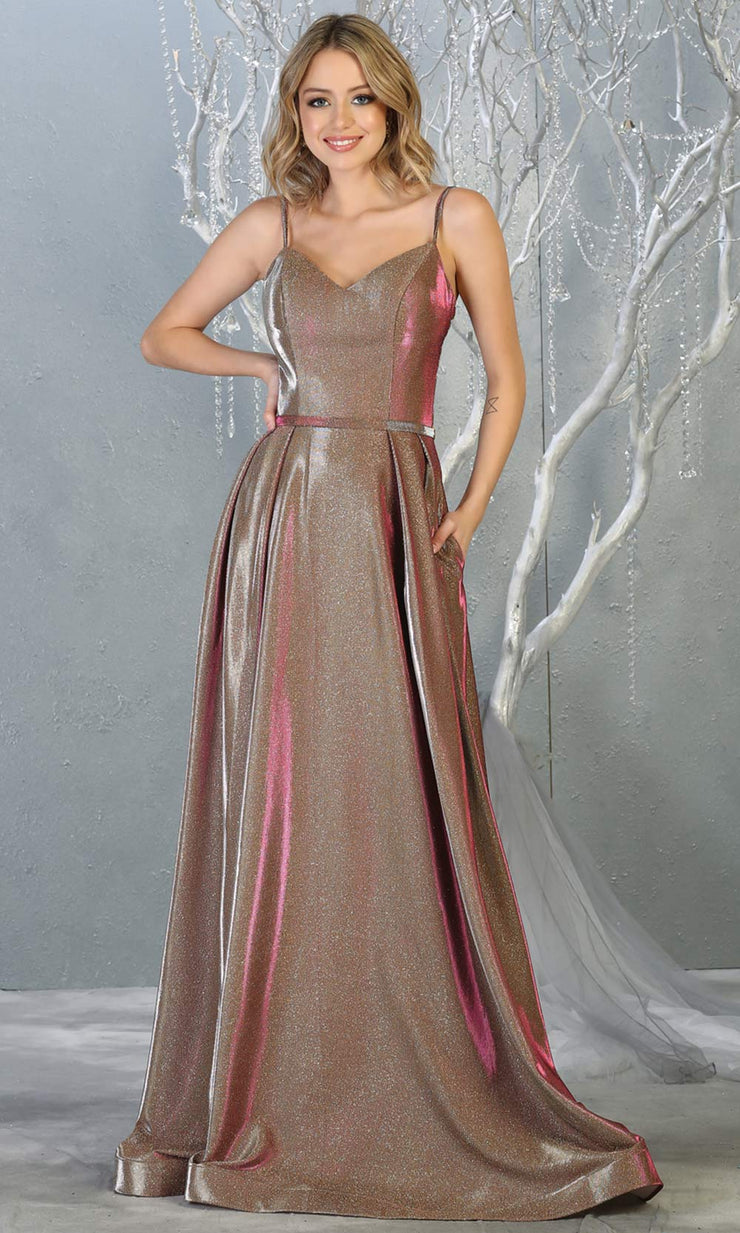 Mayqueen MQ1731 long flowy metallic taupe dress w/ thin straps. This metallic taupe flowy, a-line evening dress is perfect as a formal wedding guest dress, sweet 16 dress,quinceanera dress,prom 2020 dress,debut, indowestern gown. Plus sizes.jpg