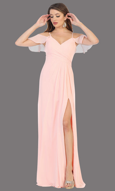 Mayqueen MQ1732 long blush pink flowy, a-line chiffon dress w/cold shoulder & high slit. This light pink simple dress is perfect as a bridesmaid dress, formal wedding guest dress, destination wedding guest dress, prom dress. Plus sizes avail