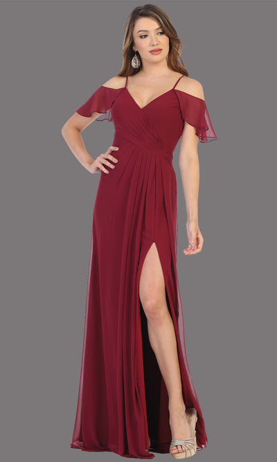 Mayqueen MQ1732 long burgundy red flowy, a-line chiffon dress w/cold shoulder & high slit. This dark red simple dress is perfect as a bridesmaid dress, formal wedding guest dress, destination wedding guest dress, prom dress. Plus sizes avail