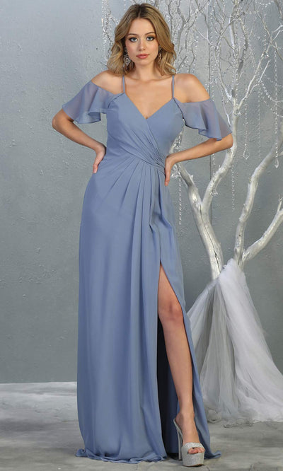 Mayqueen MQ1732 long dusty blue flowy, a-line chiffon dress w/cold shoulder & high slit. This blue simple dress is perfect as a bridesmaid dress, formal wedding guest dress, destination wedding guest dress, prom dress. Plus sizes avail.jpg