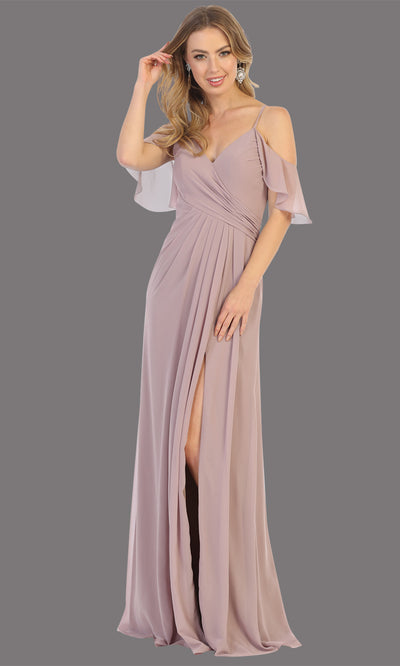 Mayqueen MQ1732 long mauve pink flowy, a-line chiffon dress w/cold shoulder & high slit. This dusty rose simple dress is perfect as a bridesmaid dress, formal wedding guest dress, destination wedding guest dress, prom dress. Plus sizes avail