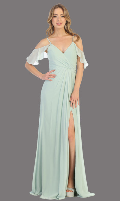 Mayqueen MQ1732 long sage green flowy, a-line chiffon dress w/cold shoulder & high slit. This light green simple dress is perfect as a bridesmaid dress, formal wedding guest dress, destination wedding guest dress, prom dress. Plus sizes avail