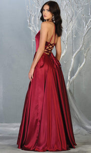 Mayqueen MQ1733 long burgundy red satin high neck dress w/low back & high slit. This dark red formal evening dress is perfect for bridesmaid dresses, prom, wedding guest dress, evening party dress. Plus sizes avail-b.jpg