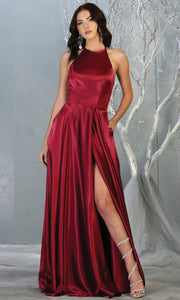 Mayqueen MQ1733 long burgundy red satin high neck dress w/low back & high slit. This dark red formal evening dress is perfect for bridesmaid dresses, prom, wedding guest dress, evening party dress. Plus sizes avail.jpg