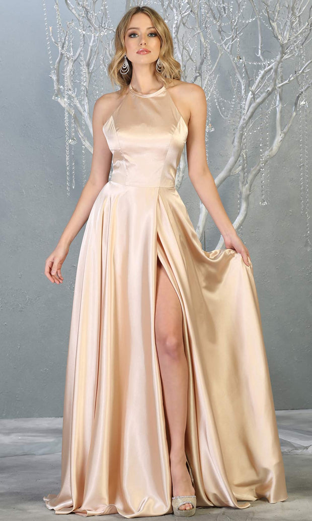 Mayqueen MQ1733 long champagne gold satin high neck dress w/low back & high slit. This light gold formal evening dress is perfect for bridesmaid dresses, prom, wedding guest dress, evening party dress. Plus sizes avail.jpg