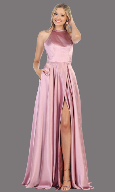 Mayqueen MQ1733 long mauve pink satin high neck dress w/low back & high slit. This light pink formal evening dress is perfect for bridesmaid dresses, prom, wedding guest dress, evening party dress. Plus sizes avail