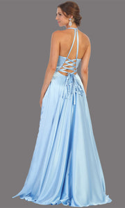 Mayqueen MQ1733 long perry blue satin high neck dress w/low back & high slit. This light blue formal evening dress is perfect for bridesmaid dresses, prom, wedding guest dress, evening party dress. Plus sizes avail-back