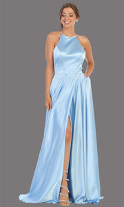 Mayqueen MQ1733 long perry blue satin high neck dress w/low back & high slit. This light blue formal evening dress is perfect for bridesmaid dresses, prom, wedding guest dress, evening party dress. Plus sizes avail