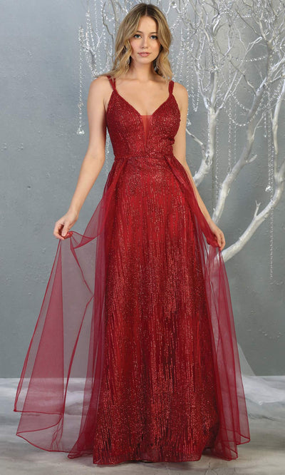 Mayqueen MQ1735 long sequin beaded  burgundy red evening dress with straps & skirt overlay. This full length dark red gown is perfect for enagagement/e-shoot dress, wedding reception dress, indowestern gown, formal evening party dress.Plus sizes avail.jpg
