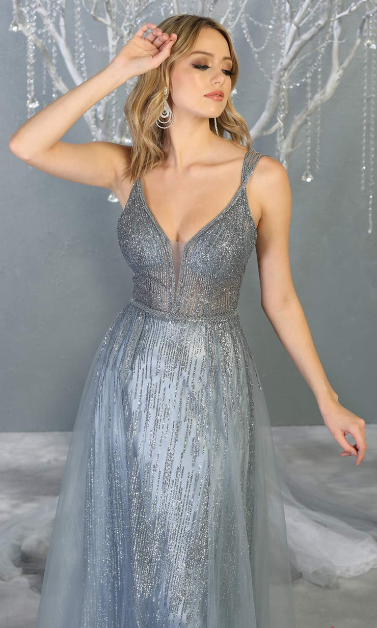 Mayqueen MQ1735 long sequin beaded  dusty blue evening dress with straps & skirt overlay. This full length blue grey gown is perfect for enagagement/e-shoot dress, wedding reception dress, indowestern gown, formal evening party dress.Plus sizes avail.jpg