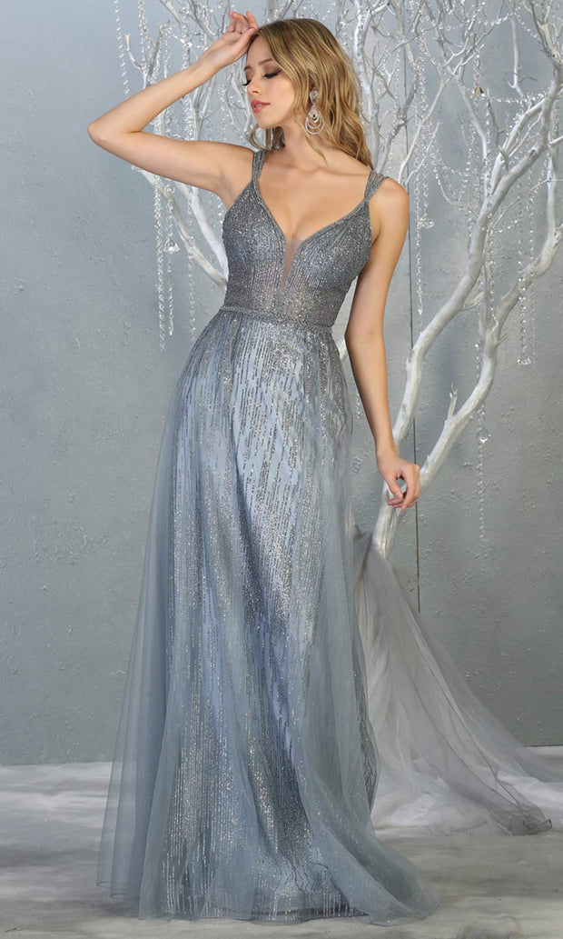 Mayqueen MQ1735 long sequin beaded  dusty blue evening dress with straps & skirt overlay. This full length blue grey gown is perfect for enagagement/e-shoot dress, wedding reception dress, indowestern gown, formal evening party dress.Plus sizes availb.jpg