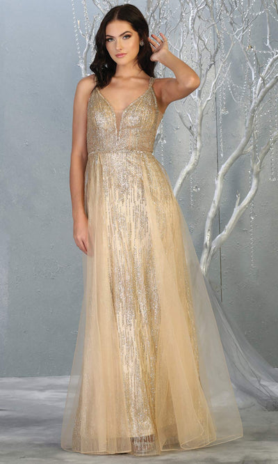 Mayqueen MQ1735 long sequin beaded  gold evening dress with straps & skirt overlay. This full length champagne gold gown is perfect for enagagement/e-shoot dress, wedding reception dress, indowestern gown, formal evening party dress.Plus sizes avail.jpg