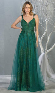 Mayqueen MQ1735 long sequin beaded  hunter green evening dress w/ straps & skirt overlay. This full length dark green gown is perfect for enagagement/e-shoot dress, wedding reception dress, indowestern gown, formal evening party dress.Plus sizes avail.jpg