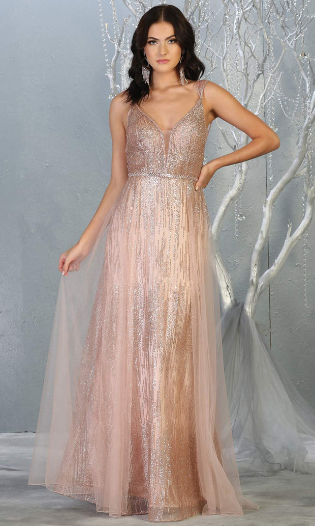 Mayqueen MQ1735 long sequin beaded  rose gold evening dress with straps & skirt overlay. This full length pink gown is perfect for enagagement/e-shoot dress, wedding reception dress, indowestern gown, formal evening party dress.Plus sizes avail.jpg