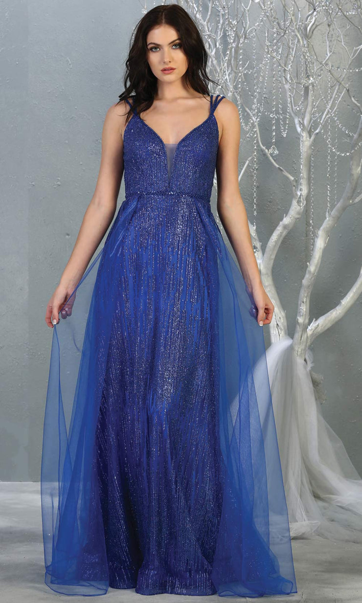 Mayqueen MQ1735 long sequin beaded  royal blue evening dress with straps & skirt overlay. This full length royal blue gown is perfect for enagagement/e-shoot dress, wedding reception dress, indowestern gown, formal evening party dress.Plus sizes avail.jpg