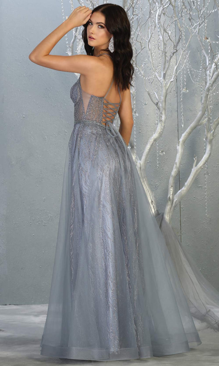 Mayqueen MQ1736 long sequin beaded  dusty blue evening dress w/high neck & flowy skirt. Full length dusty blue gown is perfect for enagagement/e-shoot dress, wedding reception dress, indowestern gown, formal evening party dress, prom.Plus sizes availB.jpg