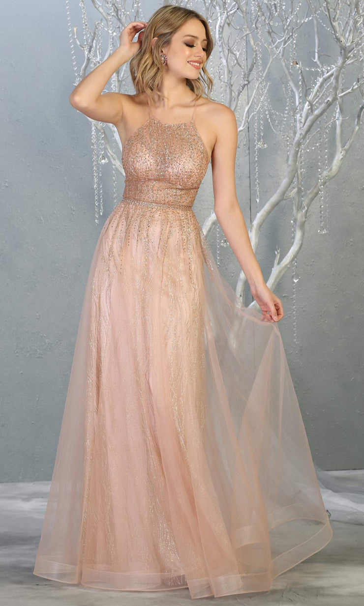 Mayqueen MQ1736 long sequin beaded  rose gold evening dress w/high neck & flowy skirt. Full length rose gold gown is perfect for enagagement/e-shoot dress, wedding reception dress, indowestern gown, formal evening party dress, prom. Plus sizes avail.jpg