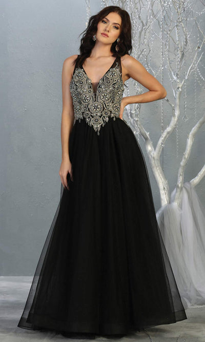 Mayqueen MQ 1737 long black v neck beaded top evening dress w/low back & flowy tulle skirt. Full length black gown is perfect for enagagement/e-shoot dress, wedding reception dress, indowestern gown, formal evening party dress, prom. Plus sizes avail.jpg