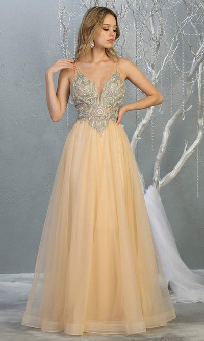 Mayqueen MQ 1737 long champagne gold v neck beaded top evening dress w/low back & flowy tulle skirt.Full length gown is perfect for enagagement/e-shoot dress, wedding reception dress, indowestern gown, formal evening party dress, prom.Plus sizes avail.jpg