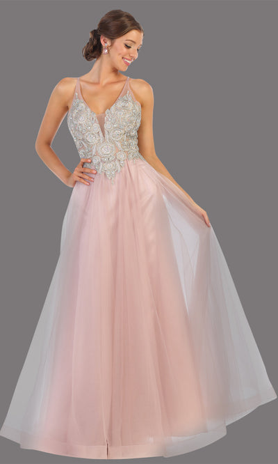 Mayqueen MQ 1737 long mauve pink v neck beaded top evening dress w/low back & flowy tulle skirt.Full length gown is perfect for enagagement/e-shoot dress, wedding reception dress, indowestern gown, formal evening party dress, prom.Plus sizes avail.jpg