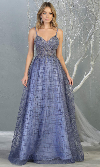 Mayqueen MQ 1738 long dusty blue v neck evening dress w/low back & flowy glitter skirt. Full length dusty blue gown is perfect for enagagement/e-shoot dress, wedding reception dress, indowestern gown, formal evening party dress, prom. Plus sizes avail.jpg