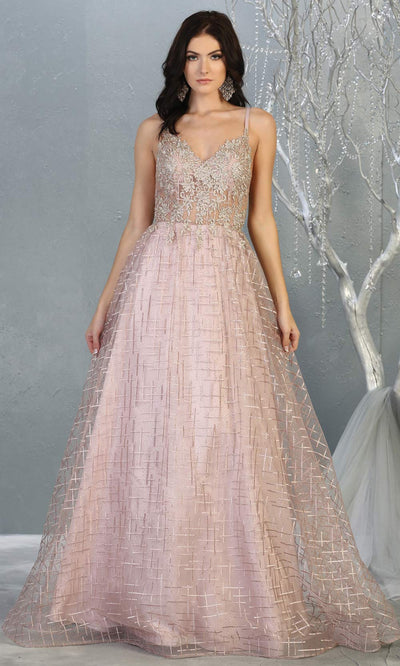 Mayqueen MQ 1738 long mauve pink v neck evening dress w/low back & flowy glitter skirt. Full length dusty rose gown is perfect for enagagement/e-shoot dress, wedding reception dress, indowestern gown, formal evening party dress, prom. Plus sizes avail.jpg