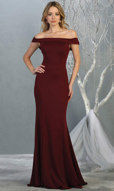 Mayqueen MQ1739 long burgundy fitted off shoulder evening dress w/lcorset back. Full length dark red gown is perfect for enagagement/e-shoot dress, bridesmaids, wedding guest dress, formal evening party dress, prom. Plus sizes avail.jpg