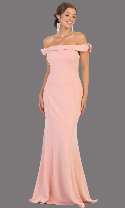 Mayqueen MQ1739 long dusty rose fitted off shoulder evening dress w/lcorset back. Full length pink gown is perfect for enagagement/e-shoot dress, bridesmaids, wedding guest dress, formal evening party dress, prom. Plus sizes avail