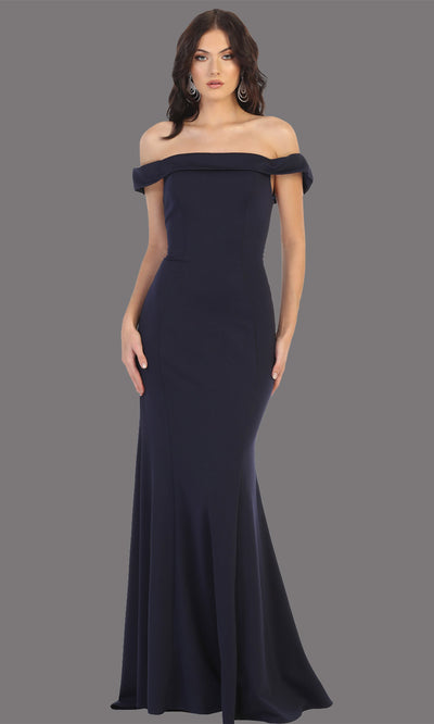 Mayqueen MQ1739 long navy blue fitted off shoulder evening dress w/lcorset back. Full length dark blue gown is perfect for enagagement/e-shoot dress, bridesmaids, wedding guest dress, formal evening party dress, prom. Plus sizes avail