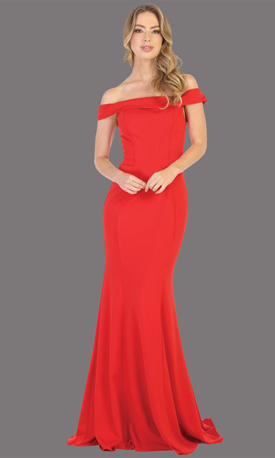 Mayqueen MQ1739 long red fitted off shoulder evening dress w/lcorset back. Full length red gown is perfect for enagagement/e-shoot dress, bridesmaids, wedding guest dress, formal evening party dress, prom. Plus sizes avail