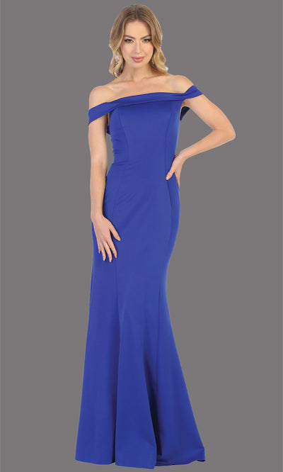 Mayqueen MQ1739 long royal blue fitted off shoulder evening dress w/corset back. Full length royal blue gown is perfect for enagagement/e-shoot dress, bridesmaids, wedding guest dress, formal evening party dress, prom. Plus sizes avail