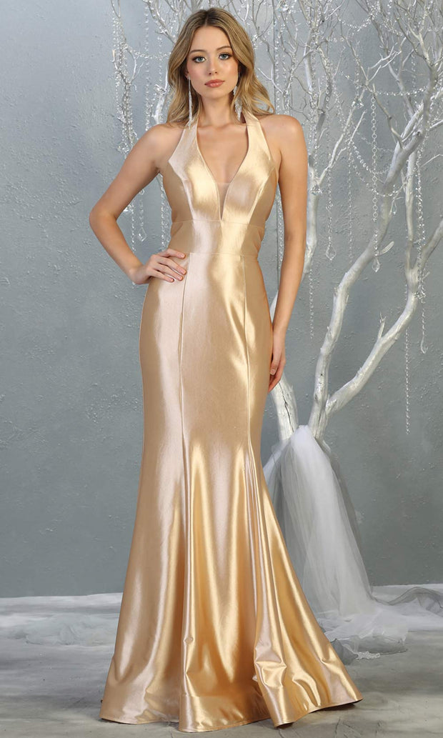 Mayqueen MQ 1740 long champagne halter evening fitted mermaid dress w/low back. Full length gold satin gown is perfect for enagagement/e-shoot dress, formal wedding guest, indowestern gown, evening party dress, prom, bridesmaid. Plus sizes avail.jpg