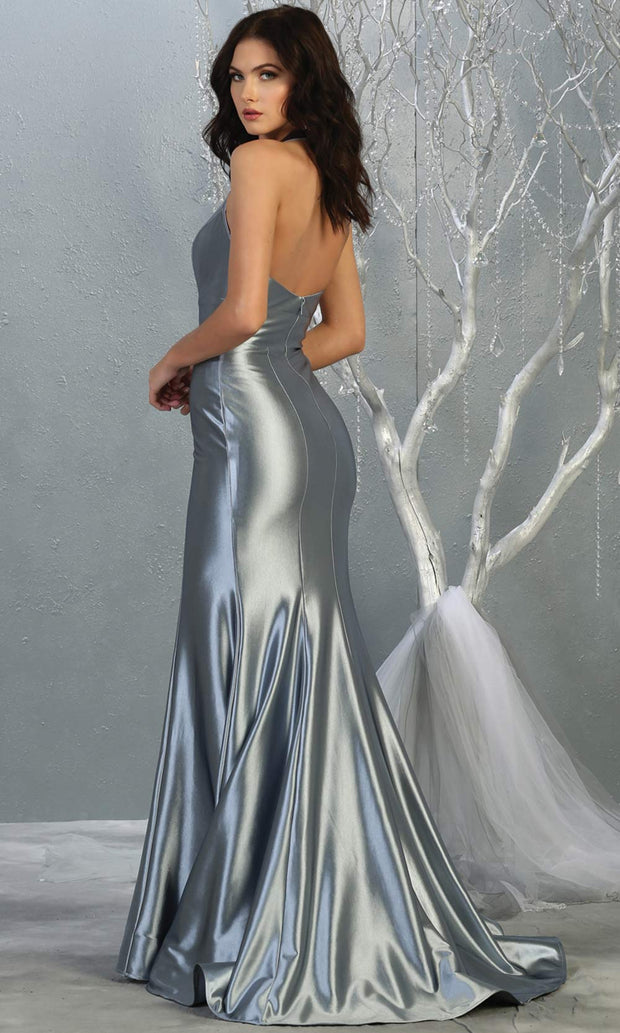 Mayqueen MQ 1740 long dusty blue halter evening fitted mermaid dress w/low back.Full length dusty blue satin gown is perfect for enagagement/e-shoot dress, formal wedding guest, indowestern gown, evening party dress,prom, bridesmaid.Plus sizes avail-b.jpg
