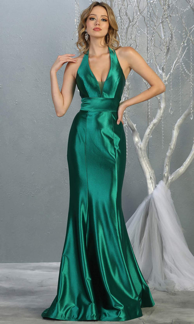 Mayqueen MQ 1740 long emerald green halter evening fitted mermaid dress w/low back. Full length green satin gown is perfect for enagagement/e-shoot dress, formal wedding guest, indowestern gown, evening party dress, prom, bridesmaid. Plus sizes avail.jpg