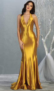 Mayqueen MQ 1740 long metallic gold halter evening fitted mermaid dress w/low back.Full length satin gown is perfect for enagagement/e-shoot dress, formal wedding guest, indowestern gown, evening party dress, prom, bridesmaid. Plus sizes avail.jpg