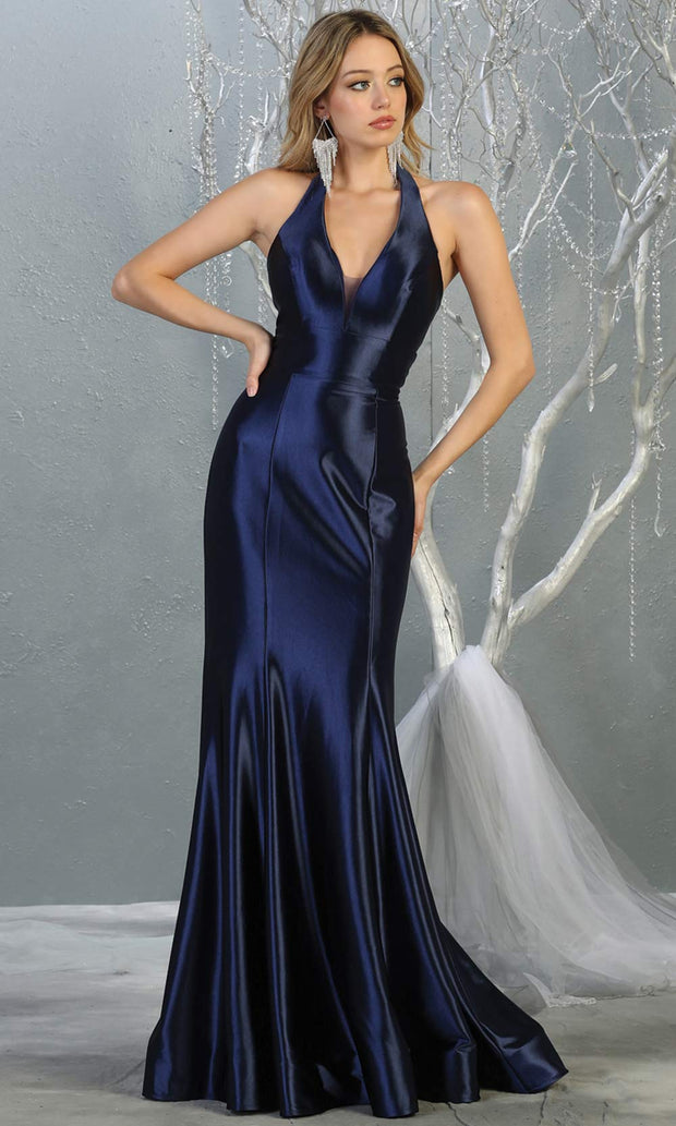 Mayqueen MQ 1740 long navy blue halter evening fitted mermaid dress w/low back.Full length dark blue satin gown is perfect for enagagement/e-shoot dress, formal wedding guest, indowestern gown, evening party dress, prom, bridesmaid. Plus sizes avail.jpg